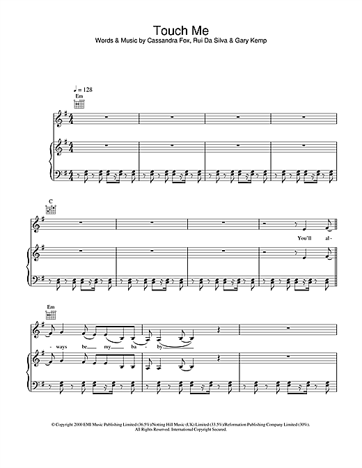 Rui Da Silva Touch Me sheet music notes and chords. Download Printable PDF.