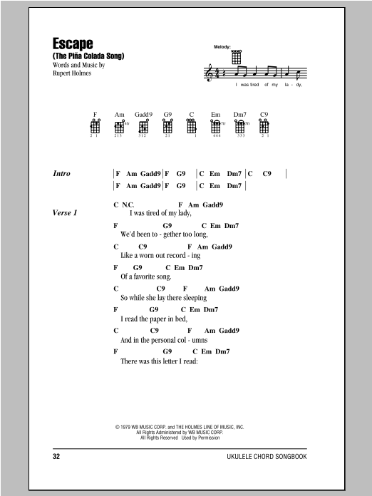 Rupert Holmes Escape (The Pina Colada Song) sheet music notes and chords