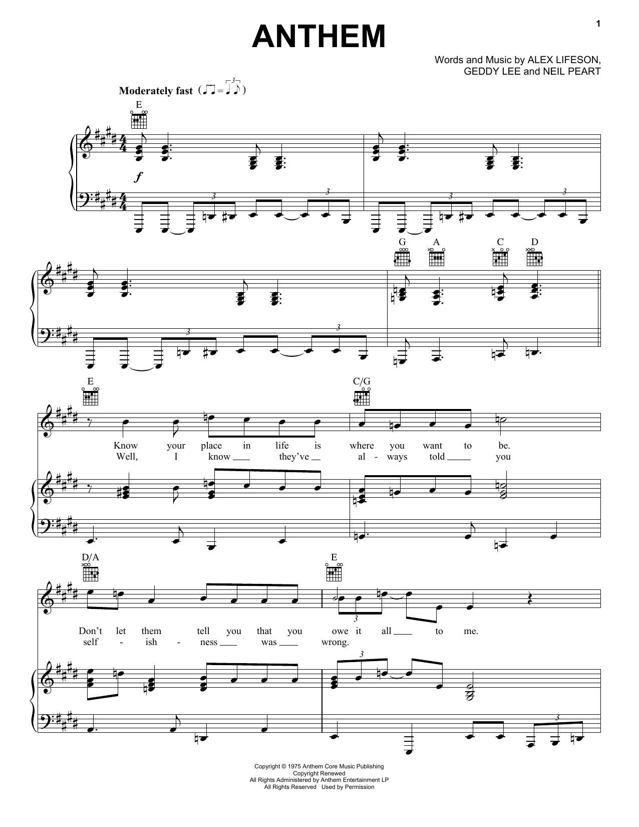 Rush Anthem Sheet Music Pdf Notes Chords Rock Score Piano Vocal Guitar Right Hand Melody Download Printable Sku 444088