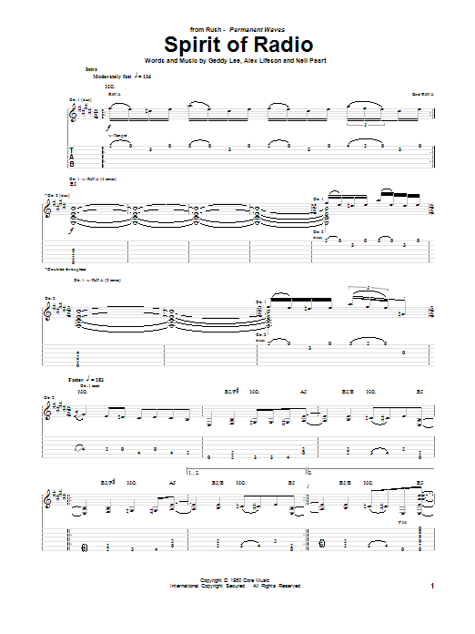 Rush Spirit Of Radio Sheet Music Pdf Notes Chords Pop Score Guitar Tab Download Printable Sku 157218
