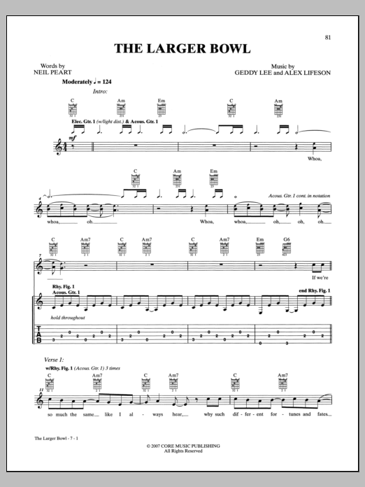 Rush The Larger Bowl sheet music notes and chords. Download Printable PDF.