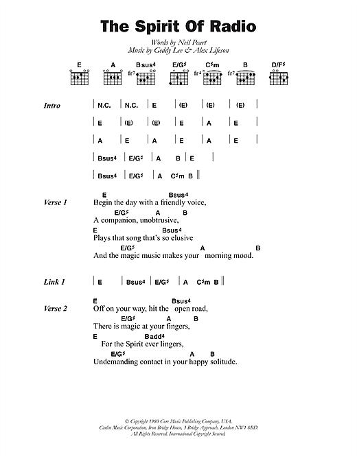 Rush The Spirit Of Radio sheet music notes and chords. Download Printable PDF.