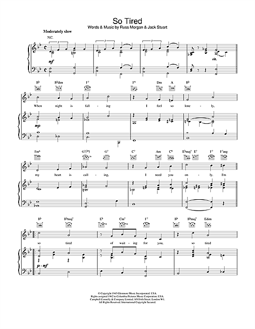 Russ Morgan & Jack Stuart So Tired sheet music notes and chords