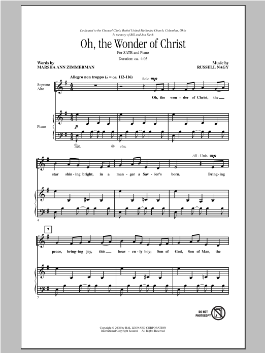 Russell Nagy Oh The Wonder Of Christ sheet music notes and chords. Download Printable PDF.