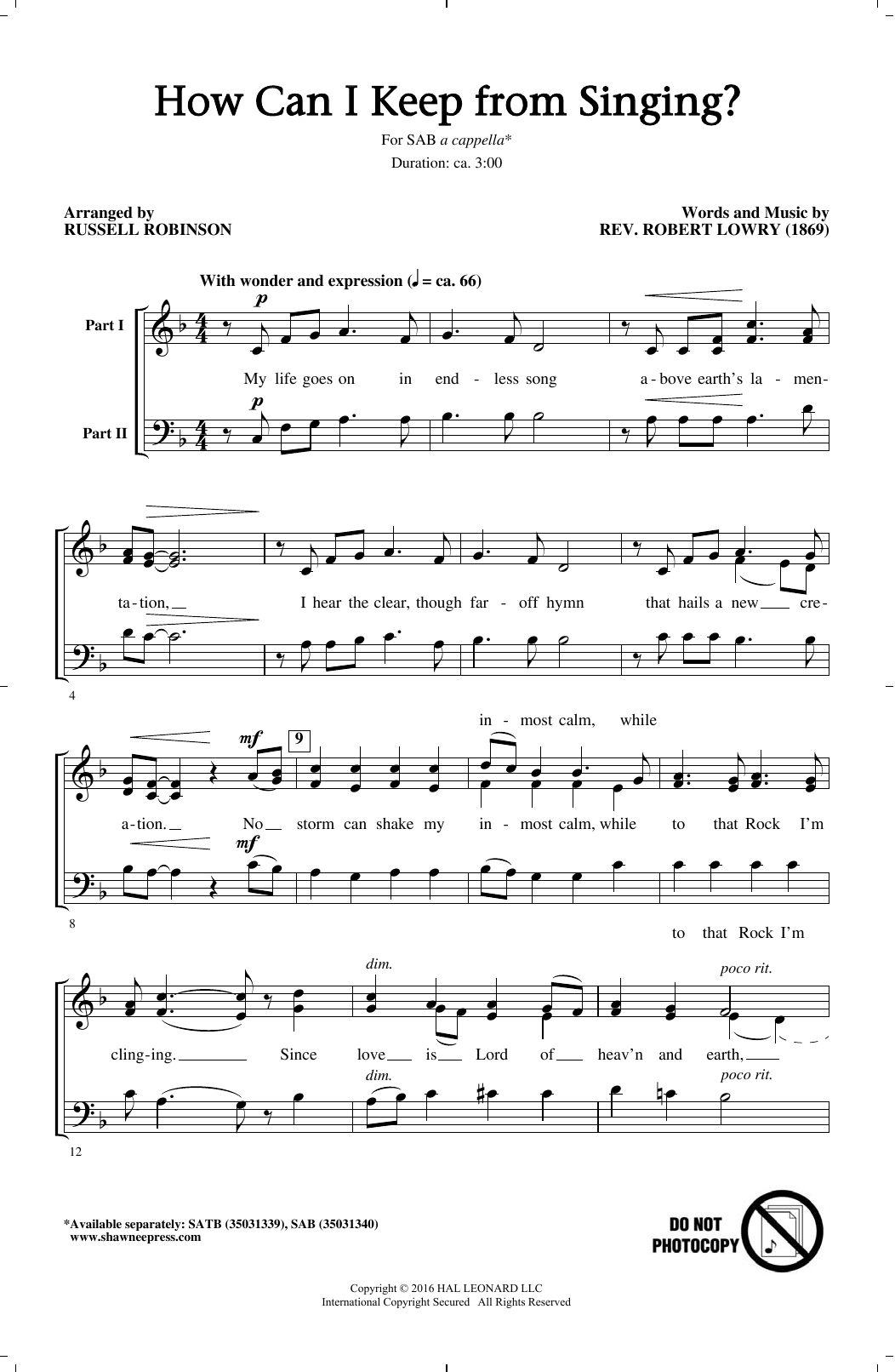 Russell Robinson How Can I Keep From Singing? sheet music notes and chords. Download Printable PDF.