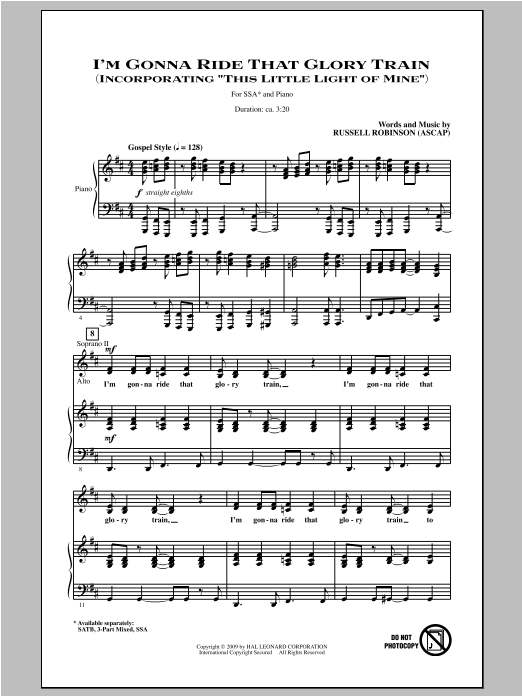 Russell Robinson I'm Gonna Ride That Glory Train sheet music notes and chords. Download Printable PDF.
