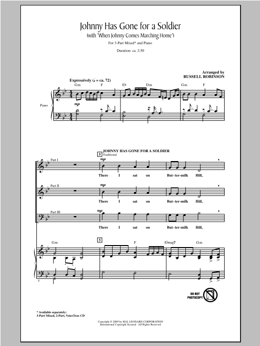 Russell Robinson Johnny Has Gone For A Soldier (with When Johnny Comes Marching Home) sheet music notes and chords. Download Printable PDF.