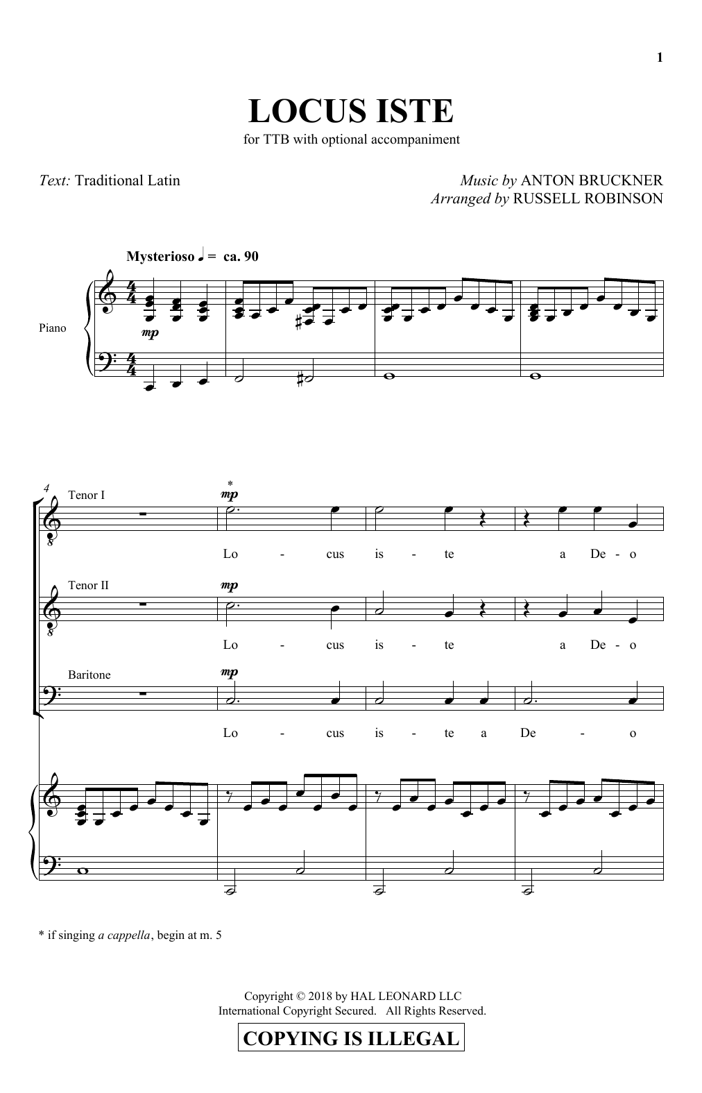 Anton Bruckner Locus Iste (arr. Russell Robinson) sheet music notes and chords. Download Printable PDF.