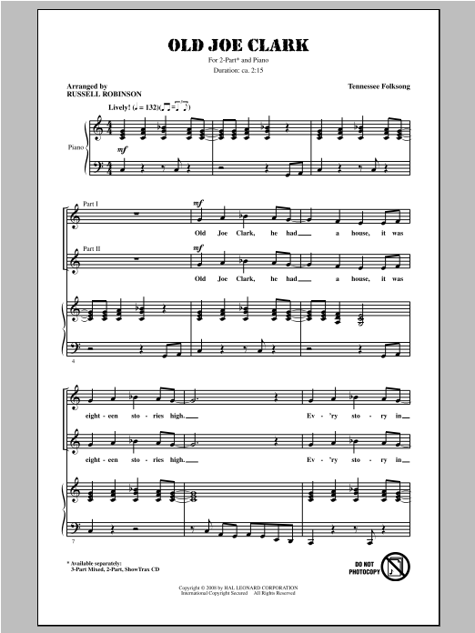 Traditional Folksong Old Joe Clark (arr. Russell Robinson) sheet music notes and chords. Download Printable PDF.