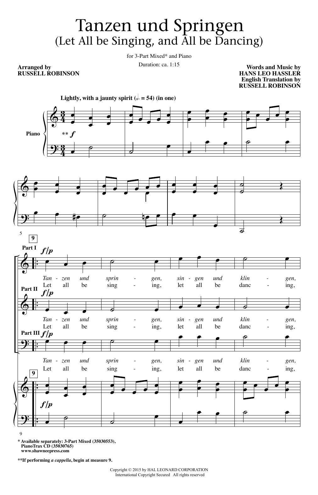 Russell Robinson Tanzen Und Springen sheet music notes and chords. Download Printable PDF.