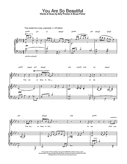 Russell Watson You Are So Beautiful sheet music notes and chords