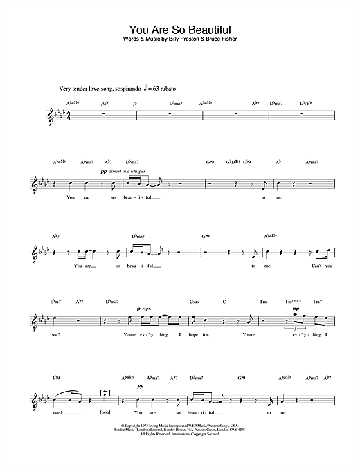 Russell Watson You Are So Beautiful sheet music notes and chords. Download Printable PDF.