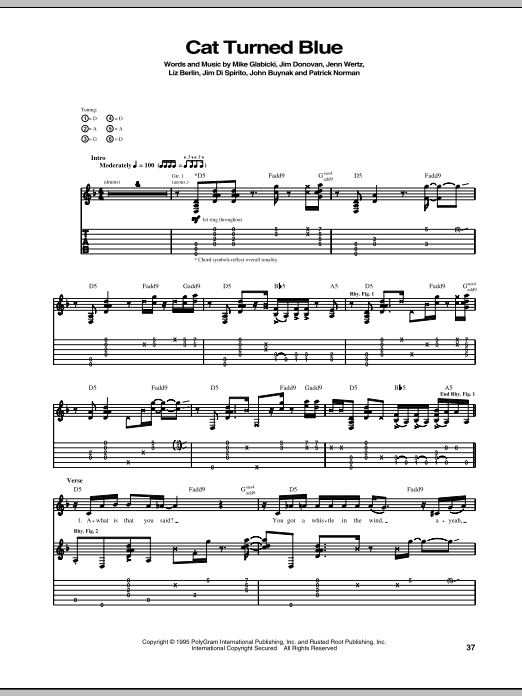 Rusted Root Cat Turned Blue sheet music notes and chords. Download Printable PDF.