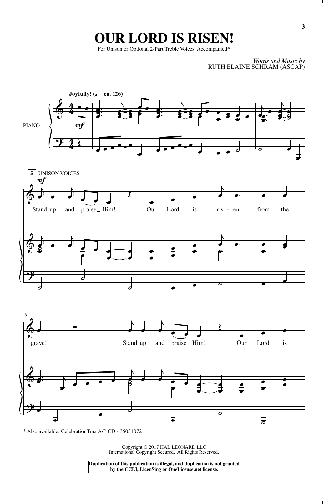 Ruth Elaine Schram Our Lord Is Risen sheet music notes and chords. Download Printable PDF.
