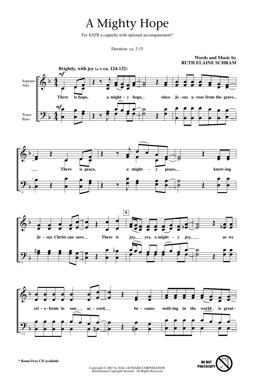 Ruth Elaine Schram A Mighty Hope sheet music notes and chords