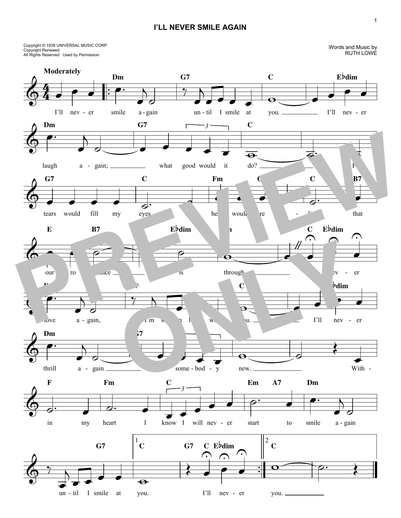 Ruth Lowe I'll Never Smile Again sheet music notes and chords. Download Printable PDF.
