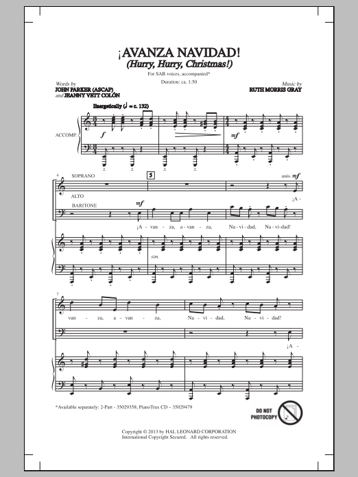 Ruth Morris Gray !Avanza Navidad! (Hurry, Hurry, Christmas!) sheet music notes and chords. Download Printable PDF.