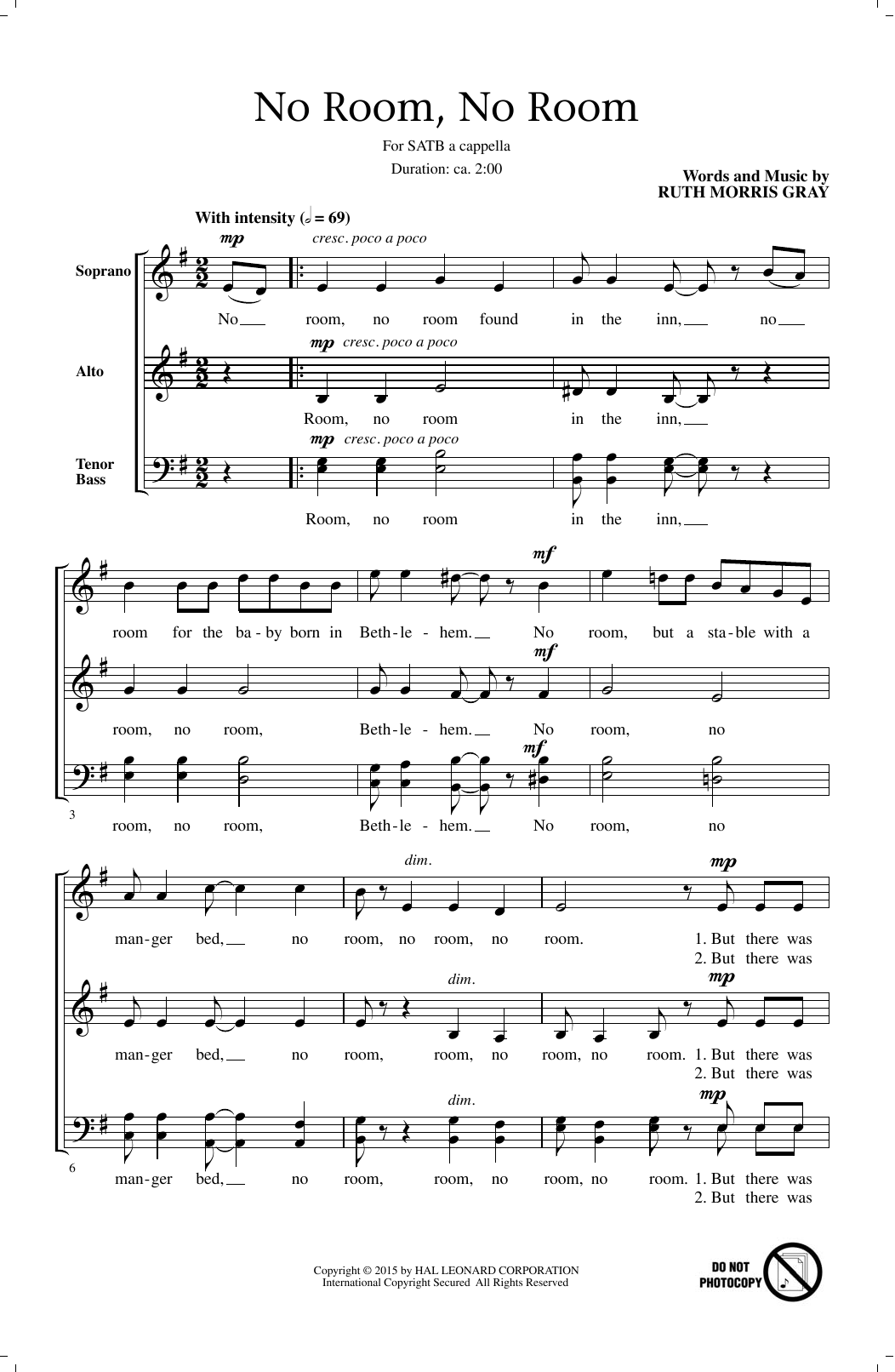 Ruth Morris Gray No Room, No Room sheet music notes and chords. Download Printable PDF.