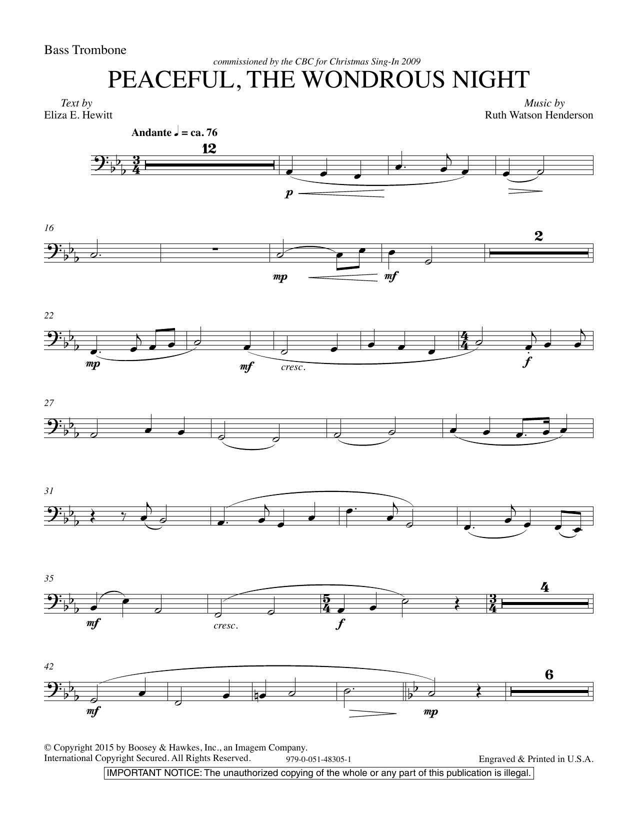 Ruth Watson Henderson Peaceful the Wondrous Night - Bass Trombone sheet music notes and chords. Download Printable PDF.