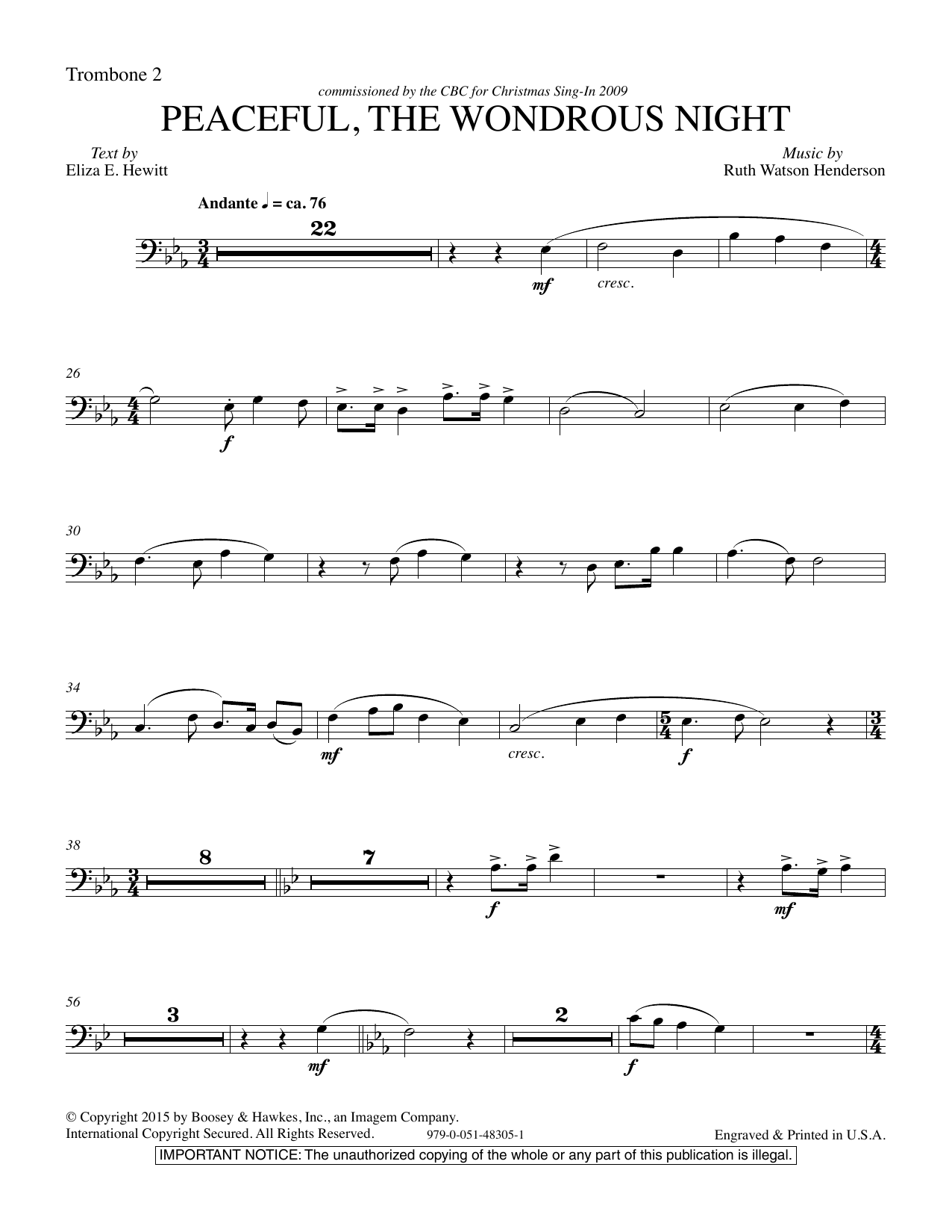 Ruth Watson Henderson Peaceful the Wondrous Night - Trombone 2 sheet music notes and chords. Download Printable PDF.