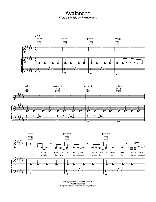 Ryan Adams Avalanche sheet music notes and chords. Download Printable PDF.