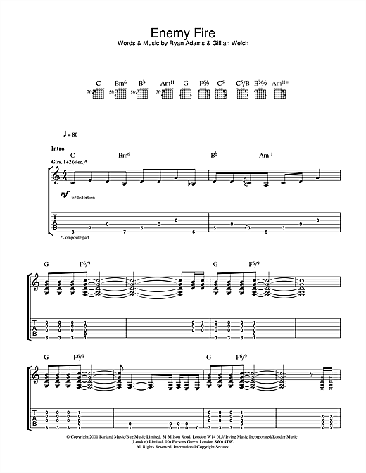 Ryan Adams Enemy Fire sheet music notes and chords. Download Printable PDF.