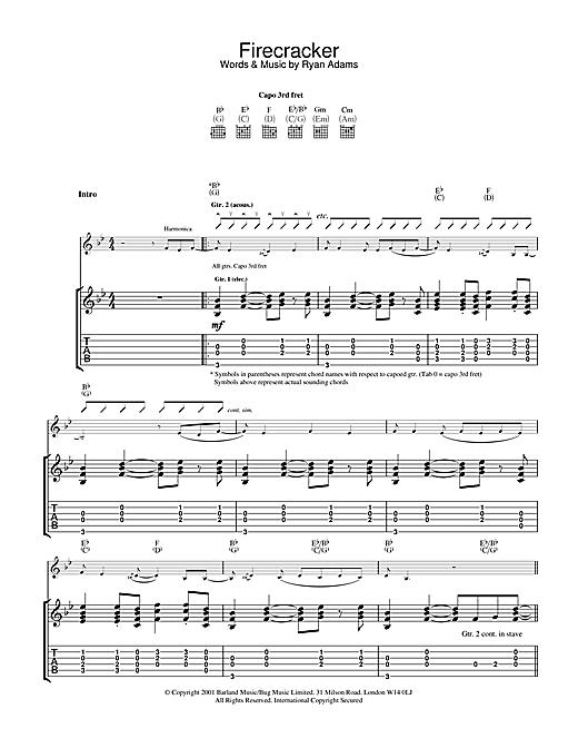 Ryan Adams Firecracker sheet music notes and chords. Download Printable PDF.
