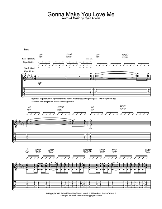 Ryan Adams Gonna Make You Love Me sheet music notes and chords. Download Printable PDF.