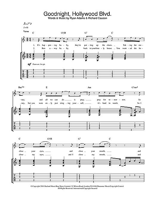 Ryan Adams Goodnight, Hollywood Blvd sheet music notes and chords. Download Printable PDF.