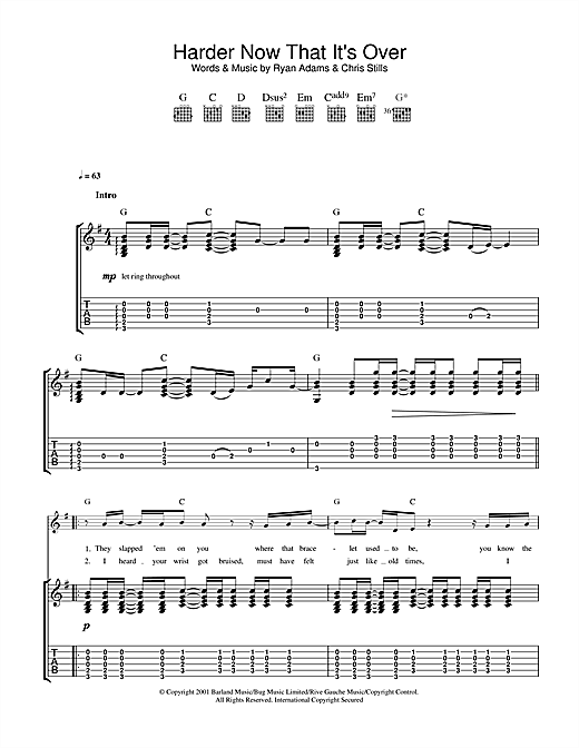 Ryan Adams Harder Now That It's Over sheet music notes and chords. Download Printable PDF.