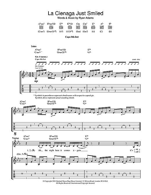 Ryan Adams La Cienega Just Smiled sheet music notes and chords. Download Printable PDF.