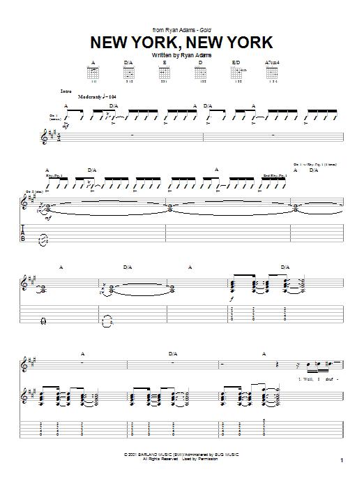 Ryan Adams New York, New York sheet music notes and chords. Download Printable PDF.