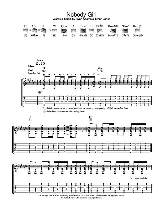 Ryan Adams Nobody Girl sheet music notes and chords. Download Printable PDF.