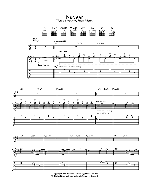 Ryan Adams Nuclear sheet music notes and chords