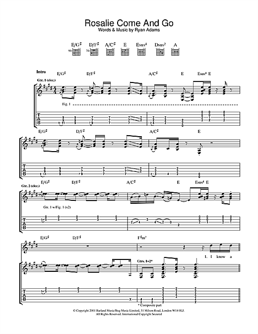 Ryan Adams Rosalie Come And Go sheet music notes and chords. Download Printable PDF.