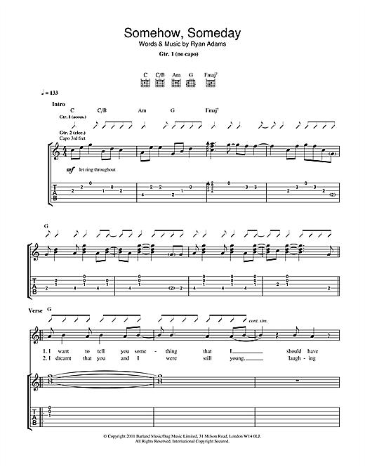 Ryan Adams Somehow, Someday sheet music notes and chords. Download Printable PDF.