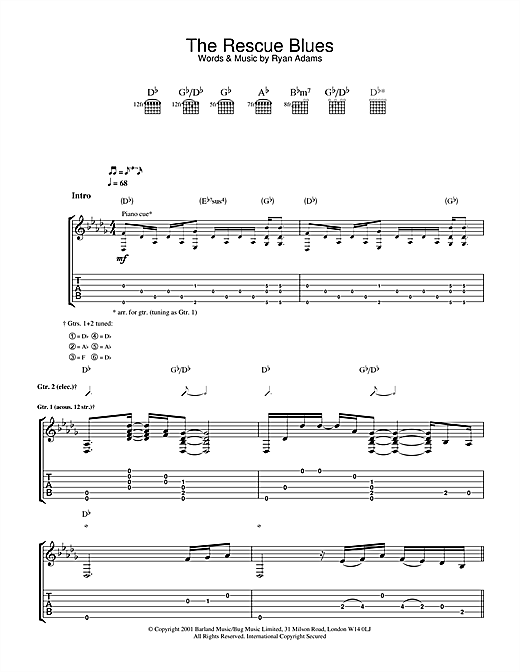 Ryan Adams The Rescue Blues sheet music notes and chords. Download Printable PDF.