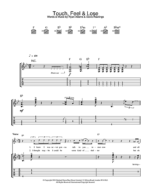Ryan Adams Touch, Feel & Lose sheet music notes and chords