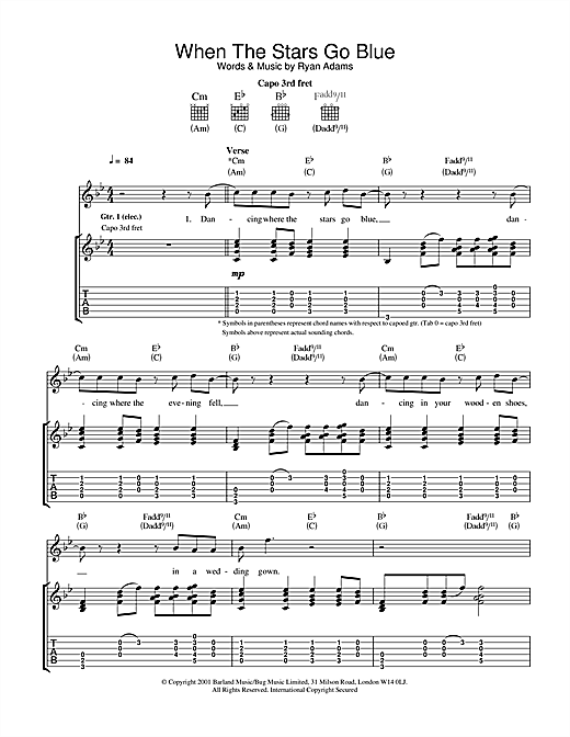Ryan Adams When The Stars Go Blue sheet music notes and chords. Download Printable PDF.