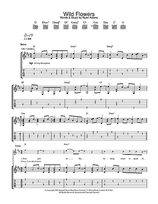 Ryan Adams Wild Flowers sheet music notes and chords. Download Printable PDF.