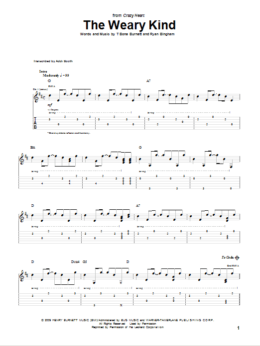 Ryan Bingham The Weary Kind (Theme From Crazy Heart) sheet music notes and chords. Download Printable PDF.