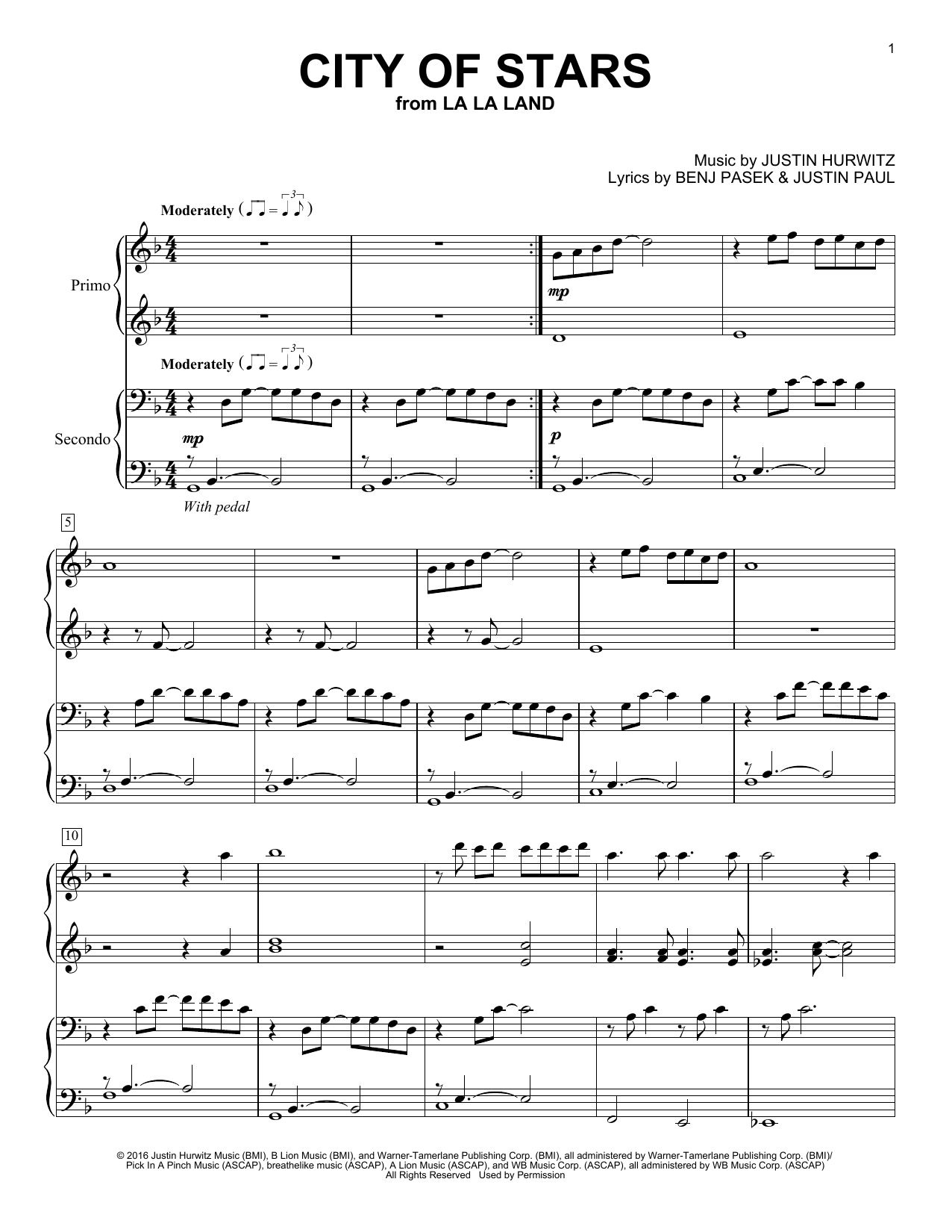 Ryan Gosling Emma Stone City Of Stars From La La Land Sheet Music Pdf Notes Chords Film And Tv Score Piano Duet Download Printable Sku 183124