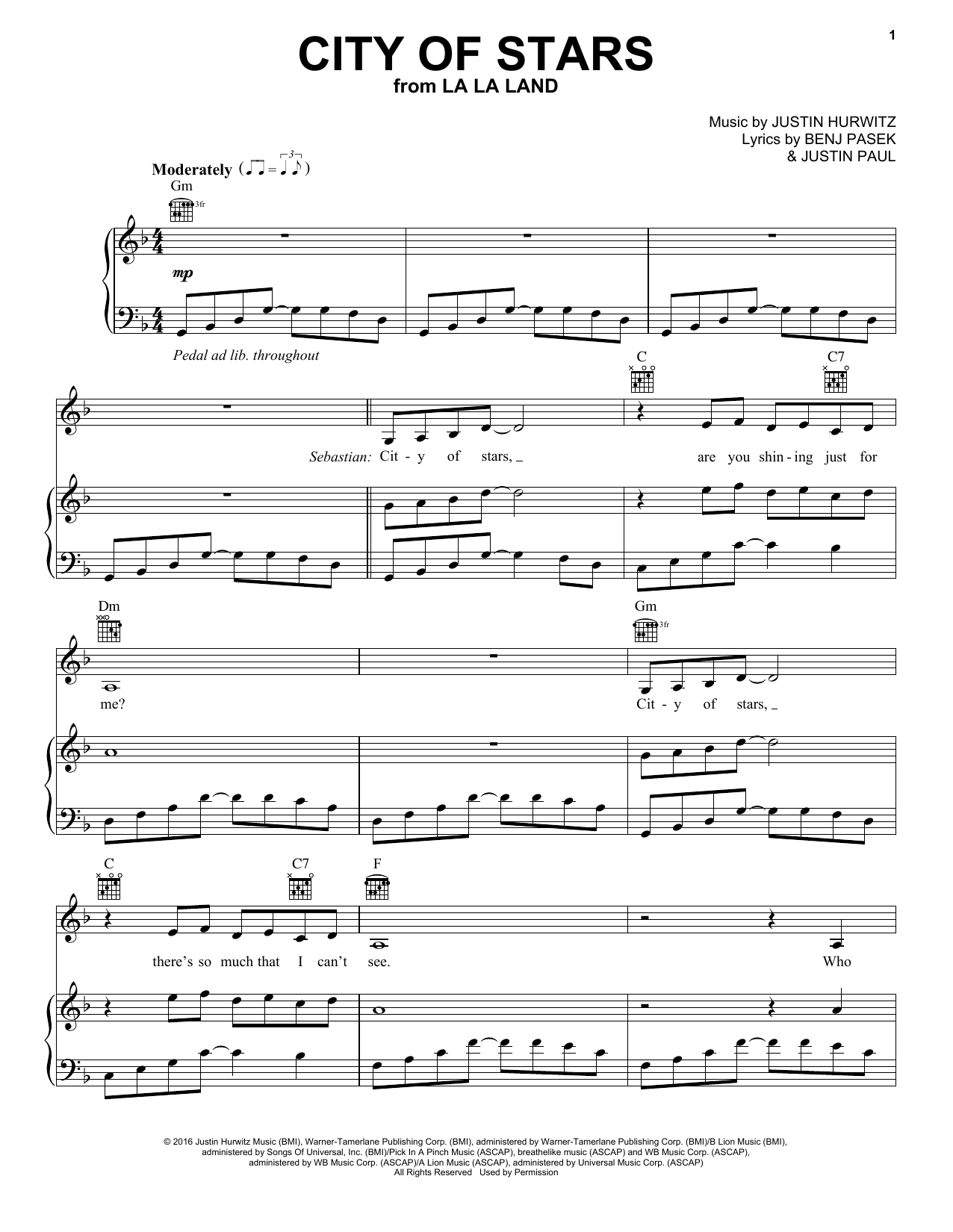 Ryan Gosling & Emma Stone City Of Stars (from La La Land) sheet music notes and chords