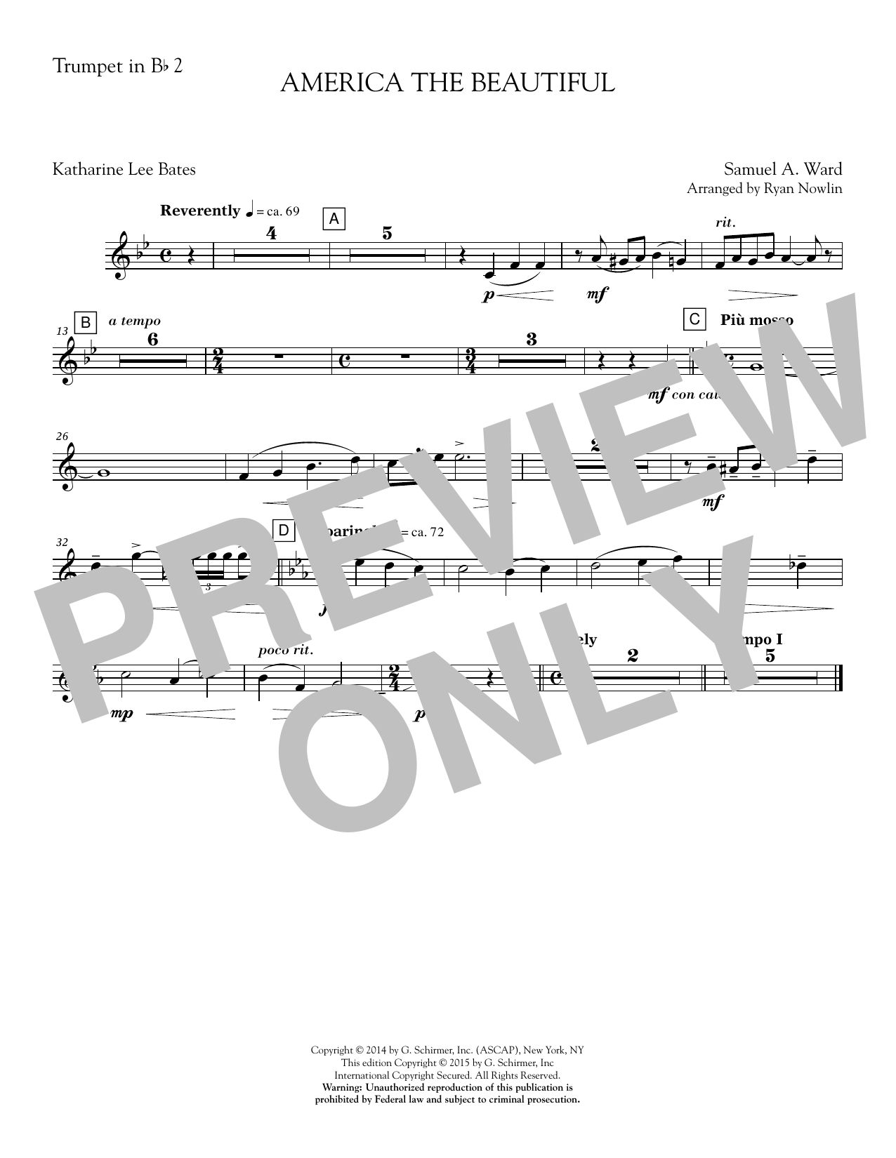 Ryan Nowlin America, the Beautiful - Bb Trumpet 2 sheet music notes and chords. Download Printable PDF.