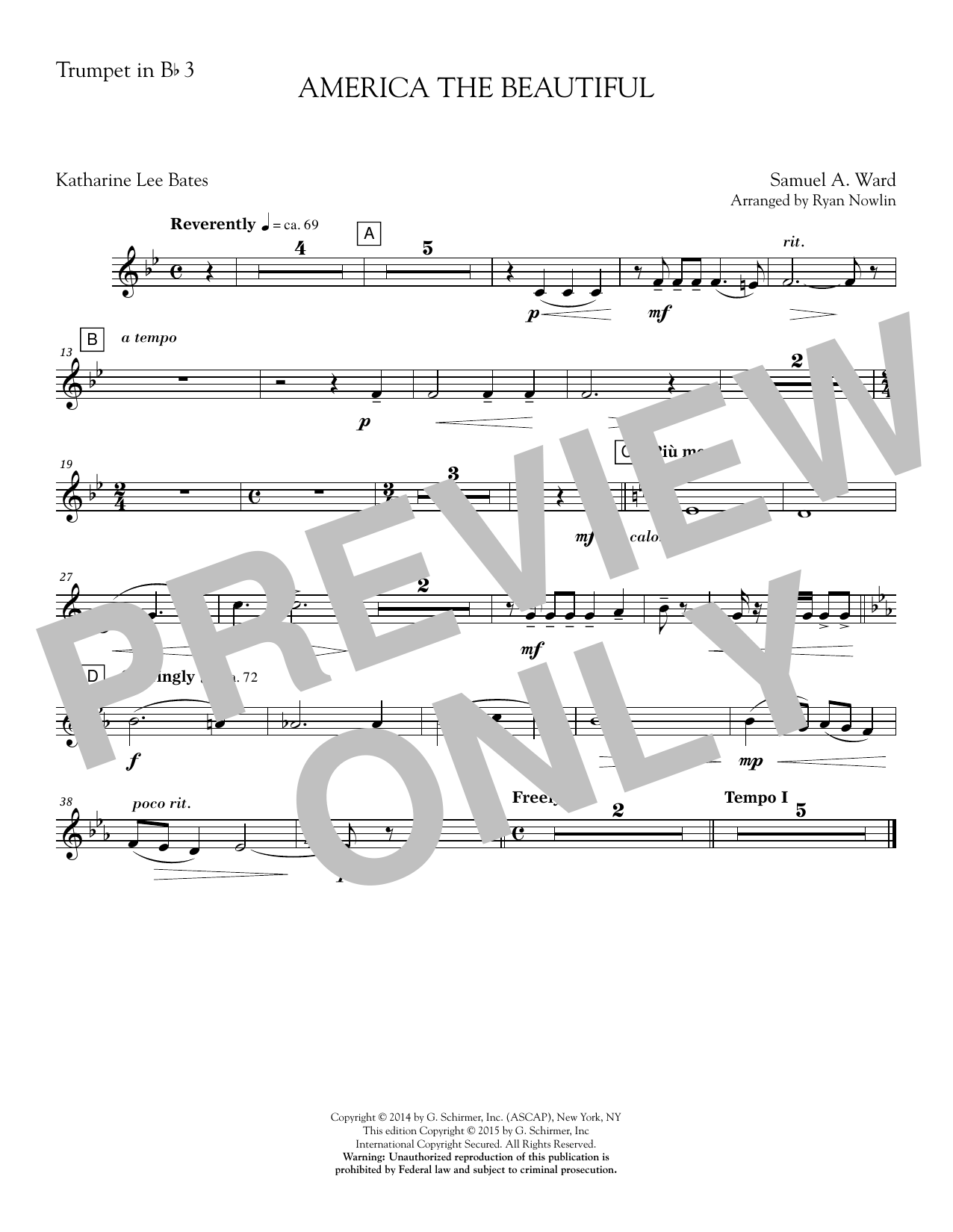 Ryan Nowlin America, the Beautiful - Bb Trumpet 3 sheet music notes and chords. Download Printable PDF.