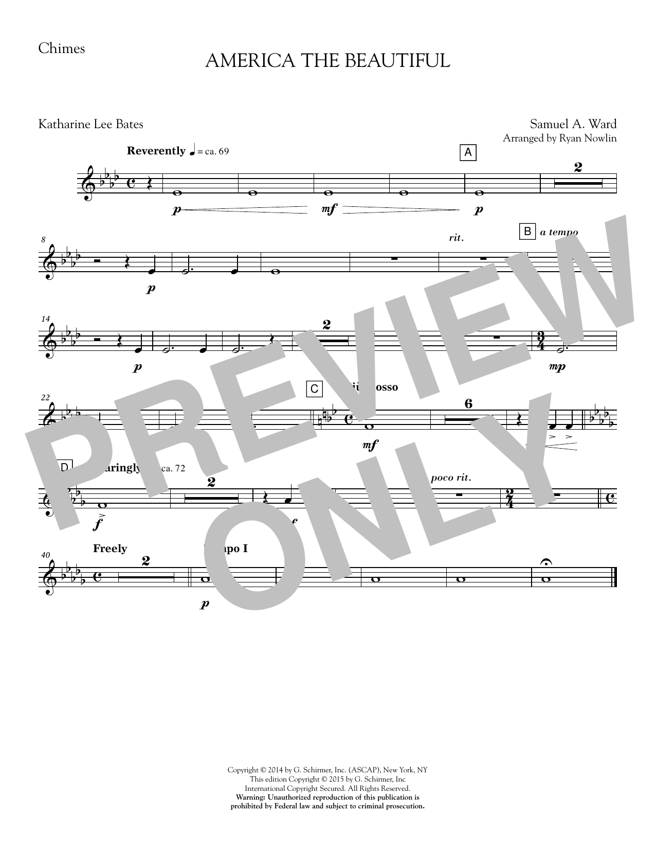 Ryan Nowlin America, the Beautiful - Chimes sheet music notes and chords. Download Printable PDF.