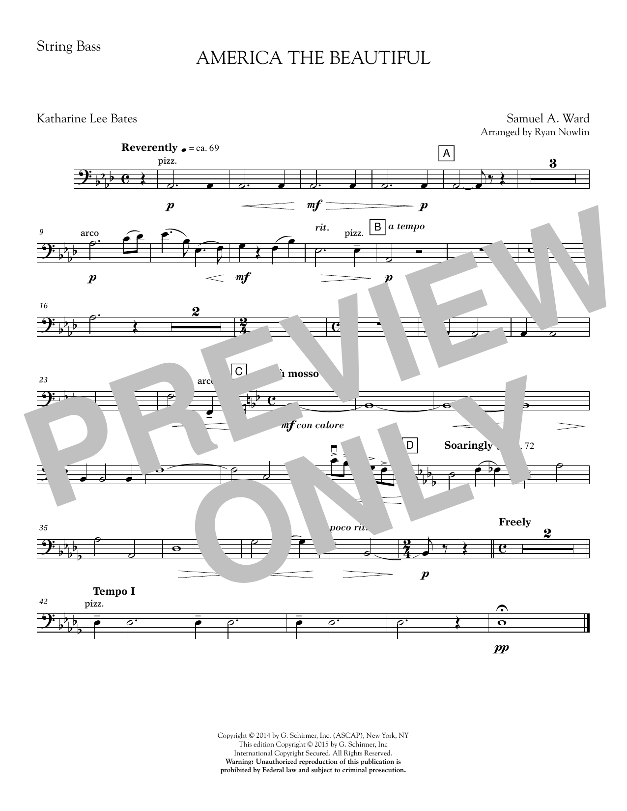 Ryan Nowlin America, the Beautiful - Double Bass sheet music notes and chords. Download Printable PDF.