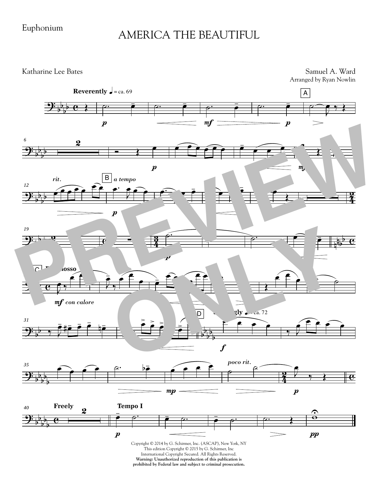 Ryan Nowlin America, the Beautiful - Euphonium sheet music notes and chords. Download Printable PDF.
