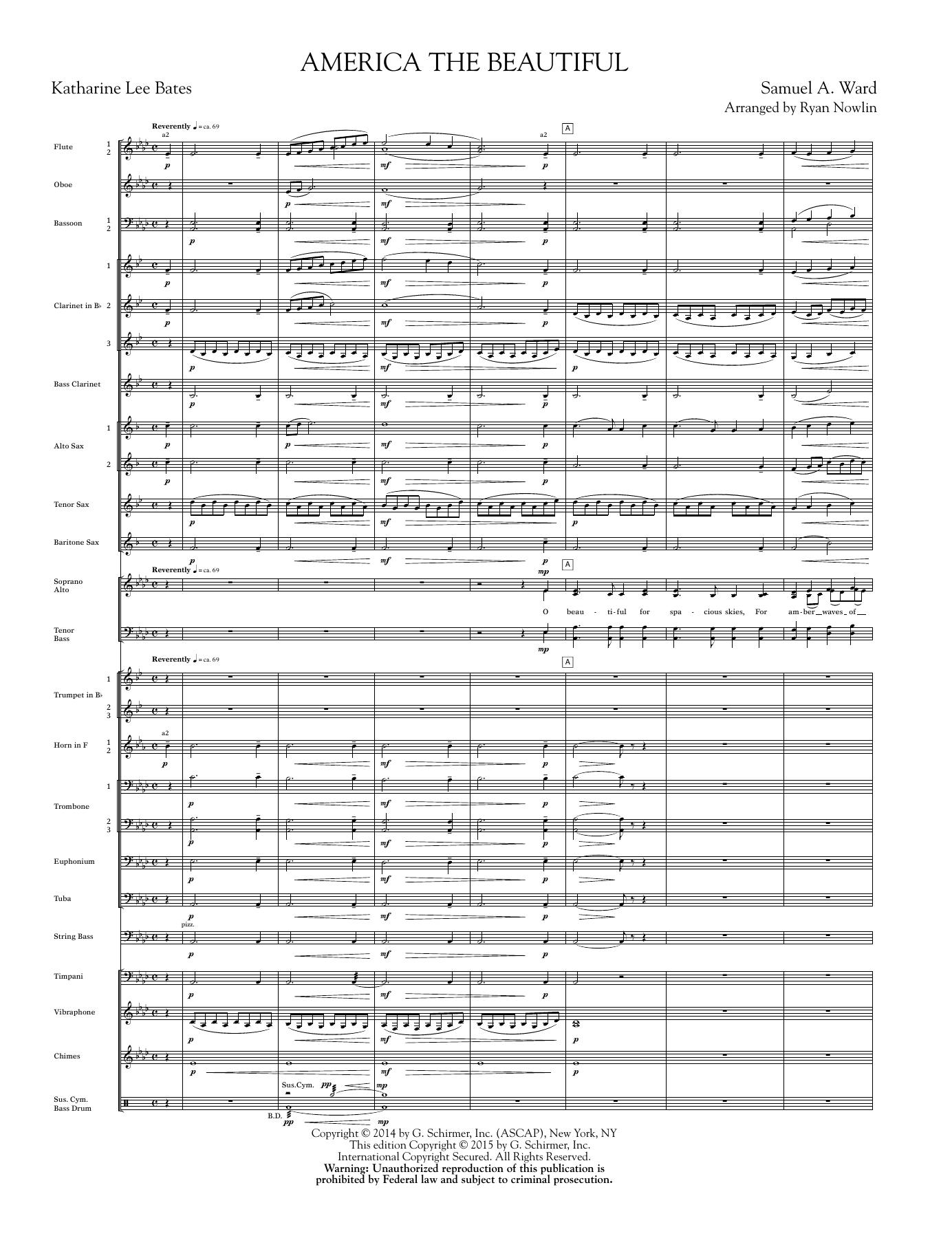 Ryan Nowlin America, the Beautiful - Score sheet music notes and chords. Download Printable PDF.