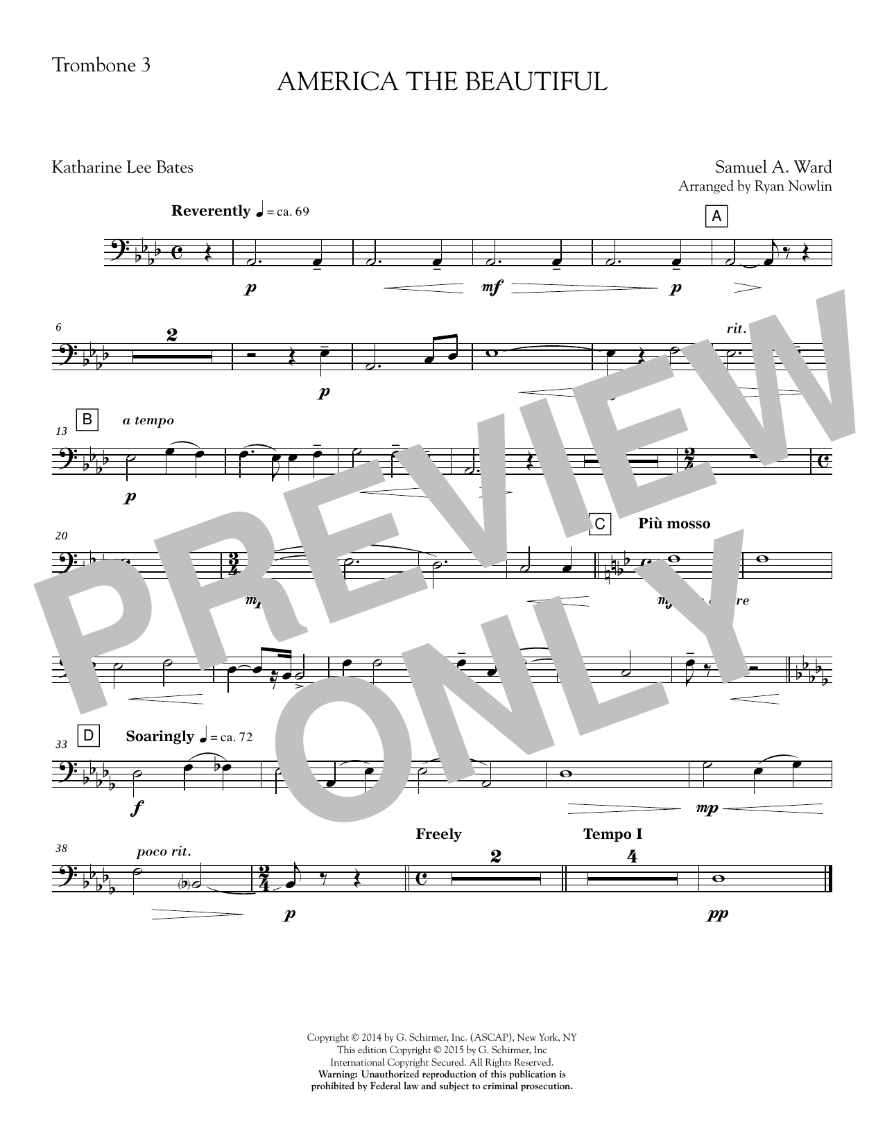 Ryan Nowlin America, the Beautiful - Trombone 3 sheet music notes and chords. Download Printable PDF.